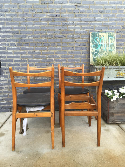 Mid-Century Modern Black Vinyl Chairs Set of 4
