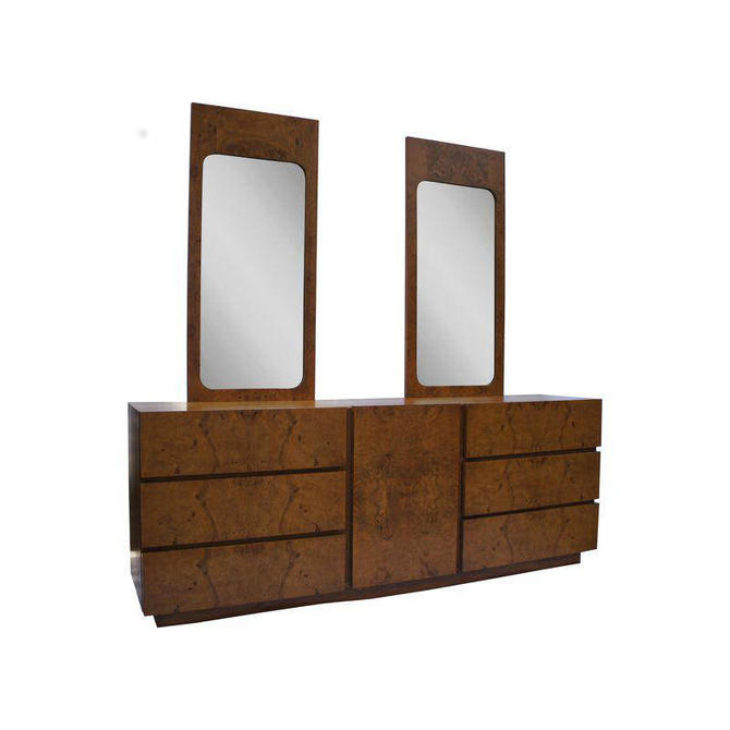 Milo Baughman for Lane Olivewood Burl Dresser/Credenza With Mirrors by MetronomeVintage