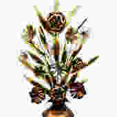"""Massive Mid-Century Jere Brass & Copper Torch Cut Flower and Leaves Arrangement    Vintage 40"""" Metal Art Dimensional Decor Display by ELECTRICmarigold"""