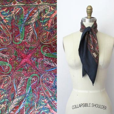 LIBERTY OF LONDON Vintage 70s Paisley Scarf | 1970s Blue Silk Hand Rolled Edges Neck Scarf Headscarf | 60s 1960s British, Made in England by lovestreetsf