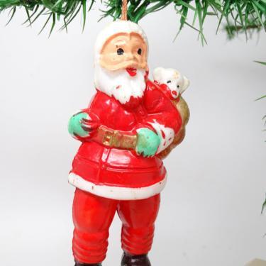 Vintage SANTA Hand Painted Plastic Christmas Tree Ornament, Antique Retro Decor by exploremag