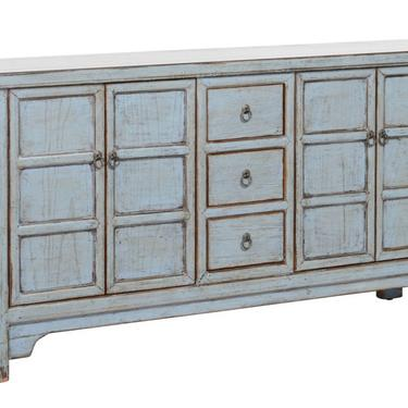 Long 4 Door 3 Drawer Blue Cabinet Sideboard by Terra Nova Designs Los Angeles by TerraNovaLA