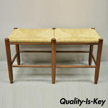 Vintage French Country Style 6 Leg Cherry Wood Woven Rope Cord Rush Seat Bench