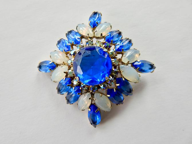Juliana Mid Century Open Set Cobalt Glass and Opalized Glass Brooch by LegendaryBeast