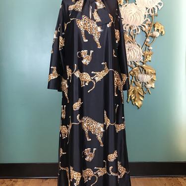 1960s kaftan, tiger print dress, vintage maxi dress, 1960s loungewear, pussy bow neck, size large, animal print kaftan, leopard print, 38 40 by BlackLabelVintageWA