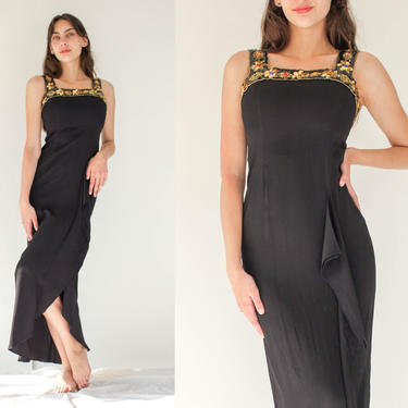 Vintage 90s Jessica McClintock Black Rayon Crepe Maxi Dress w/ Gold Sequin Bead Straps   Ruffled Front Slit   1990s Grunge, Party Dress by TheVault1969