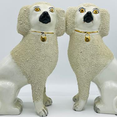 """Antique Pair of Large English Staffordshire Poodle Spaniel White Dogs-Curl Confetti textured hair.  11"""" Nice Condition by JoAnntiques"""