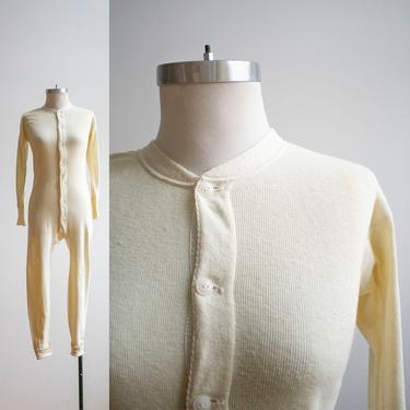 Vintage 1930s Hanes Long Underwear / Vintage Union Suit / Cotton Knit Long Underwear / Cotton Union Suit / Vintage Pajamas / 1930s Hanes by milkandice