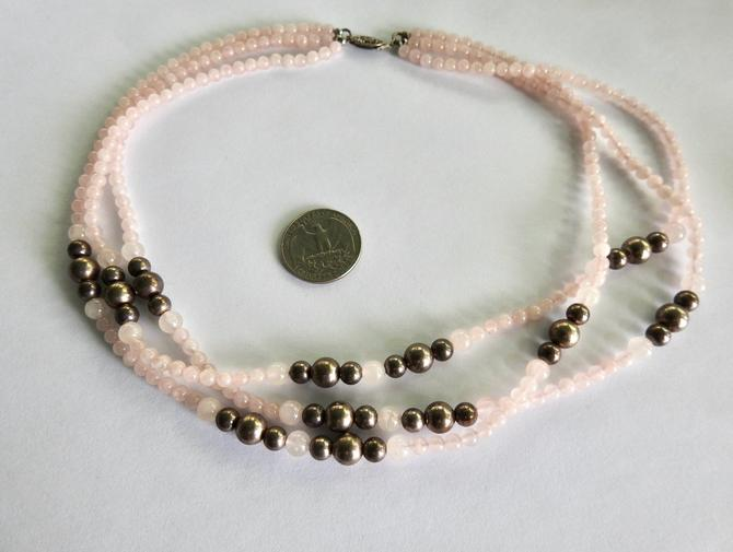 Triple Strand Rose Quartz Silver Bead Necklace by LegendaryBeast