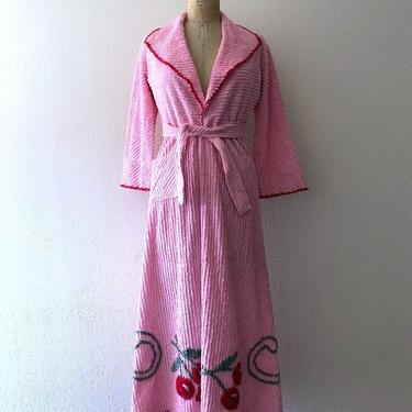 1940s chenille robe . pink robe with cherries by BlueFennel