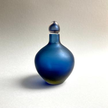 Paolo Venini Inciso Murano Glass Bottle / Decanter in Blue Yellow Sommerso 2005 by templeofvintage