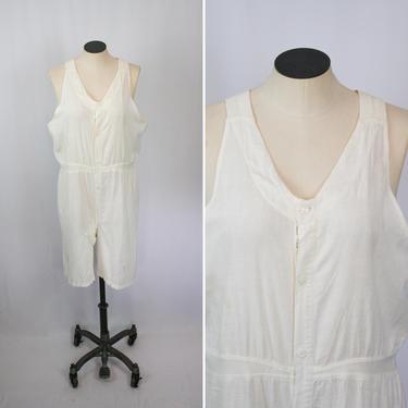 Vintage 20s Union Suit   Vintage white cotton one piece underwear   1920s BVD men's undergarment by BeeandMason
