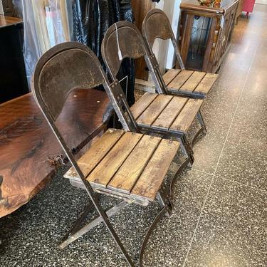 """Vintage metal and wood 3 seater folding bench. 52.5"""" x 16"""" x 31"""" seat height 18"""""""