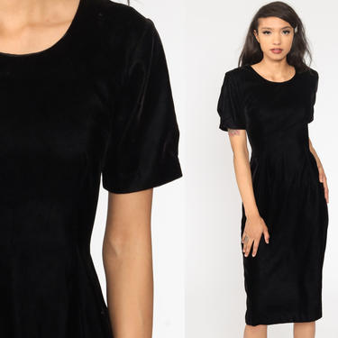 Black Velvet Dress 90s Midi Length Lace Up Back Party Short Sleeve Shift Sheath Cocktail Vintage Gothic Witch Minidress Goth Extra Small xs by ShopExile