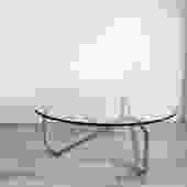 1970s Chrome Tangle Glass Top Coffee Table