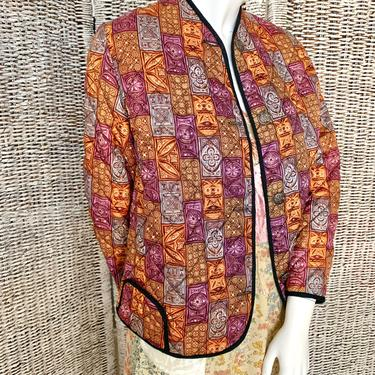 Quilted Jacket, Blazer, Geometric, Metal Buttons, Vintage 90s by GabAboutVintage