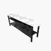 Custom-Made Steel & Marble Low Sofa Table