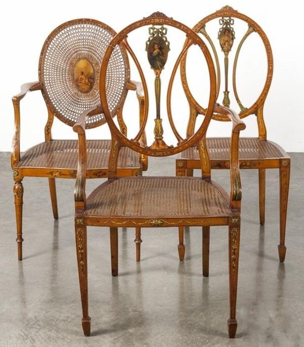 Antique Adams-Style Paint Decorated Cane Chairs | Set of 3| c. 1900