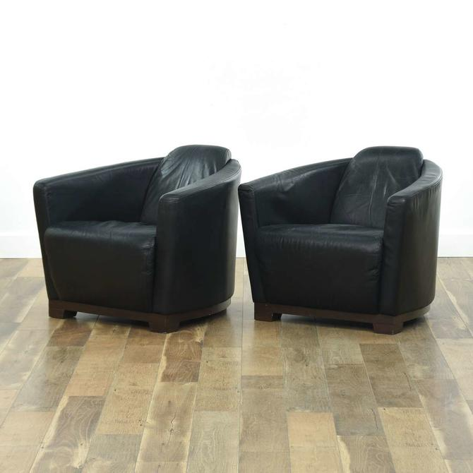 Pair Calia Salotti Mid Century Black Leather Armchairs