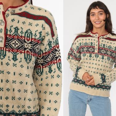 Nordic Wool Sweater 80s LL Bean Norwegian Sweater Fair Isle Sweater Boho Nordic Ski Bohemian Knit Beige Pullover Medium by ShopExile