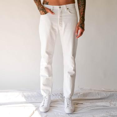 Vintage 80s 90s LEVIS 501 White Denim Button Fly Jeans |  Made in USA | Size 32x32 | 1980s 1990s LEVIS High Waisted Broken In Denim Pants by TheVault1969
