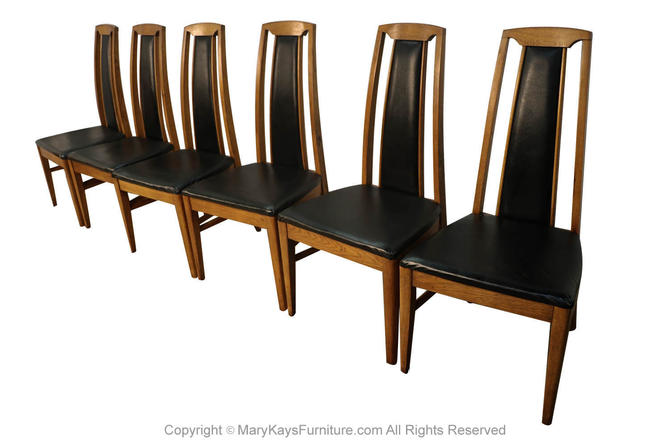 Set of Six Mid Century Modern High Back Walnut Dining Chairs by Marykaysfurniture