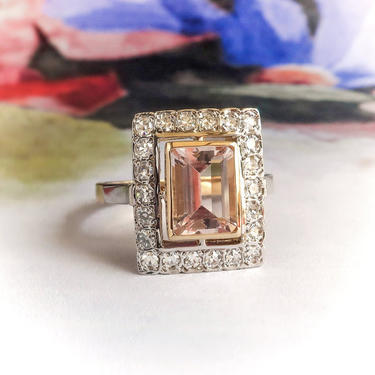 Vintage Peach Morganite Diamond Halo Ring Estate 1980's 1.97ct t.w. Emerald Cut Two Tone Cocktail Statement Ring 18K Yellow White Gold by YourJewelryFinder