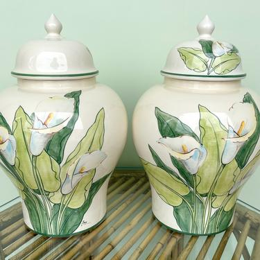 Pair of Hand Painted Italian Lily Ginger Jars