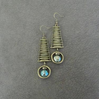 Imperial jasper earrings, modern earrings, rustic bronze earrings, mid century modern earrings, unique statement earrings, blue ethnic 2 by Afrocasian