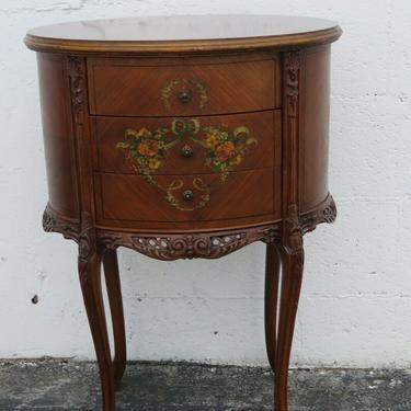 French Carved Hand Painted Nightstand Side End Bedside Table 2465