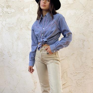 Vintage 1970's Shirt Express Western 100% Cotton Denim Gingham Detail Button Up Blouse by CottontailTrdPost