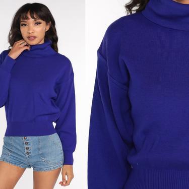 Blue-Purple Sweater 80s TURTLENECK Sweater Ribbed Pullover Sweater 1980s Vintage Plain Indigo Medium by ShopExile