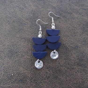 Blue wooden earrings, silver Afrocentric earrings, mid century modern earrings, African earrings, bold statement, unique pagoda earrings by Afrocasian