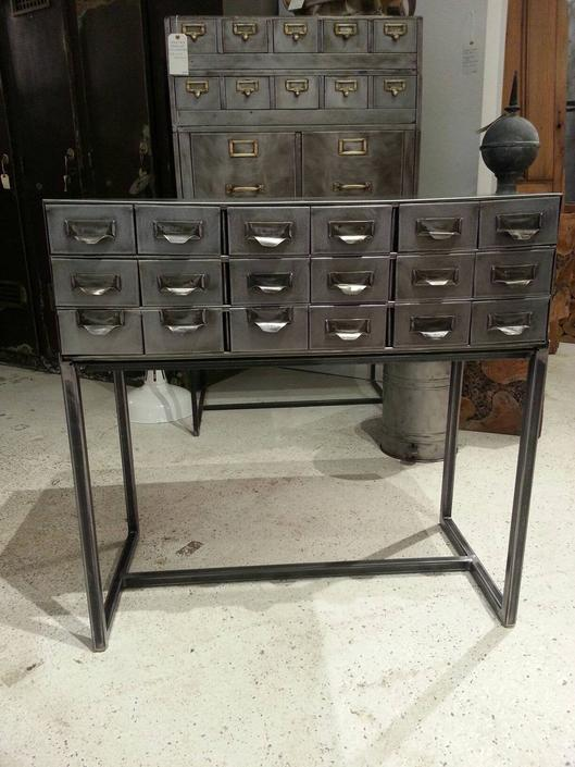 Vintage industrial stripped steel shop cabinet / sofa table by StateStreetSalvage