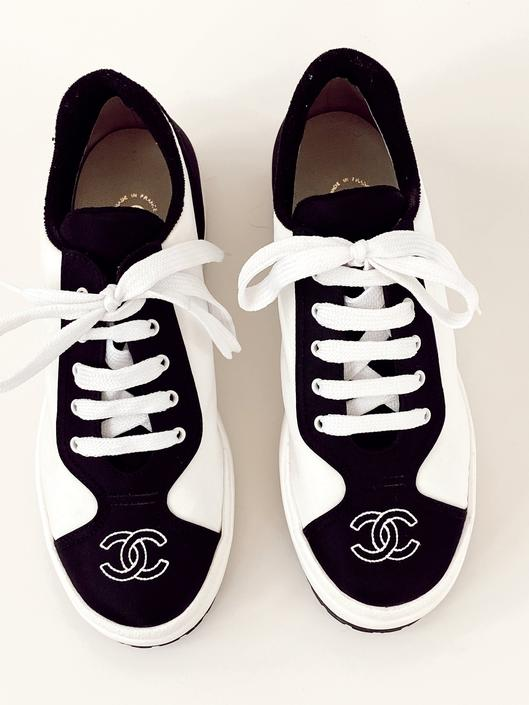 Vintage CHANEL CC Logos White & Black Fabric Canvas Sneakers Trainers Tennis shoes eu 39 us 8 - 8.5 by MoonStoneVintageLA