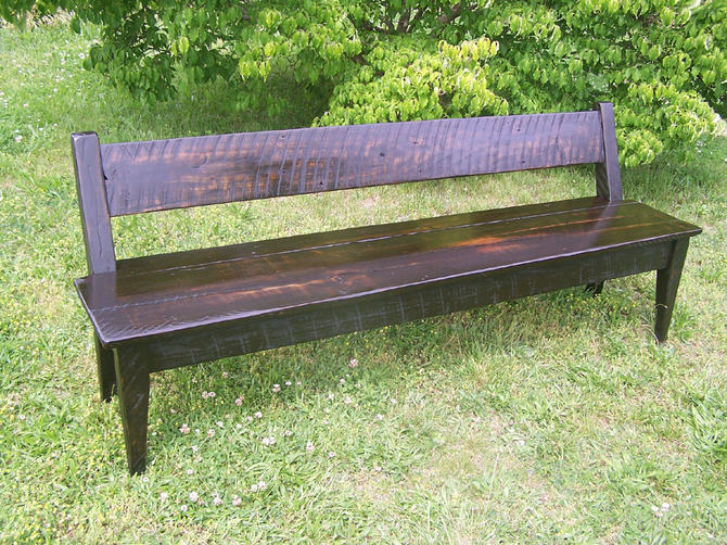 Relaxed Back Reclaimed Wood Farm Bench by BarnWoodFurniture