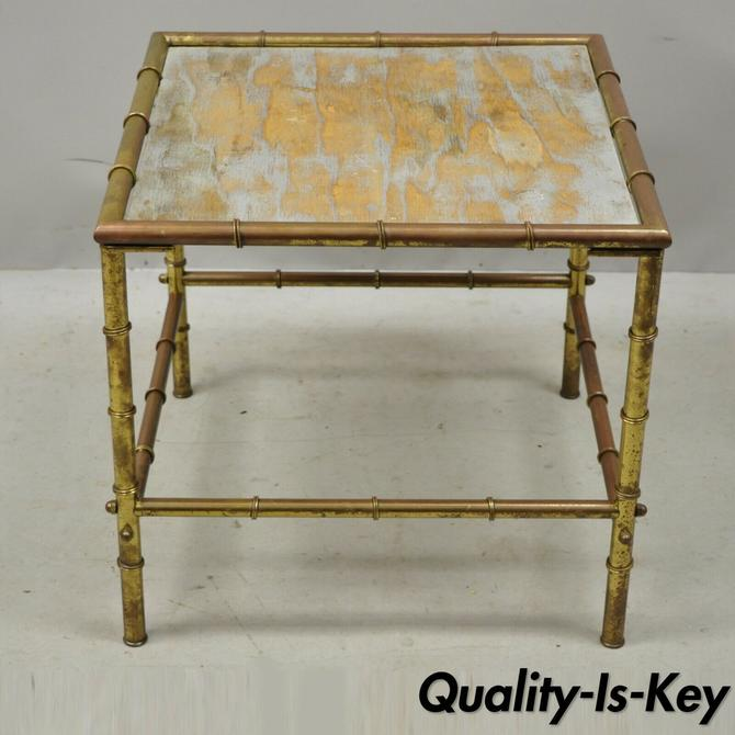 Italian Hollywood Regency Faux Bamboo Brass Tole Metal Low Square Side Table