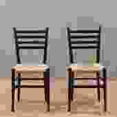 Gio Ponti-Style Rush Seat Side Chair