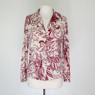 1970s graphic floral poly button down shirt by flutterandecho