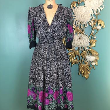 1980s blouson dress, border print, vintage 80s dress, ruffled rayon, black and gray, wrap bodice, small medium, full skirt, moulin rouge, 34 by BlackLabelVintageWA