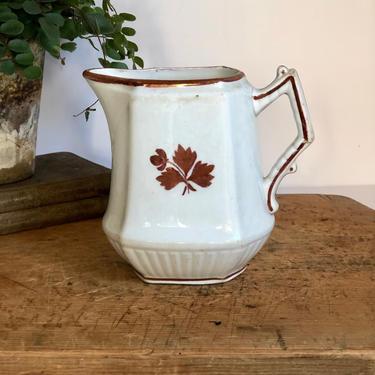 Antique Ironstone Tea Leaf Pitcher by AnticaMarket