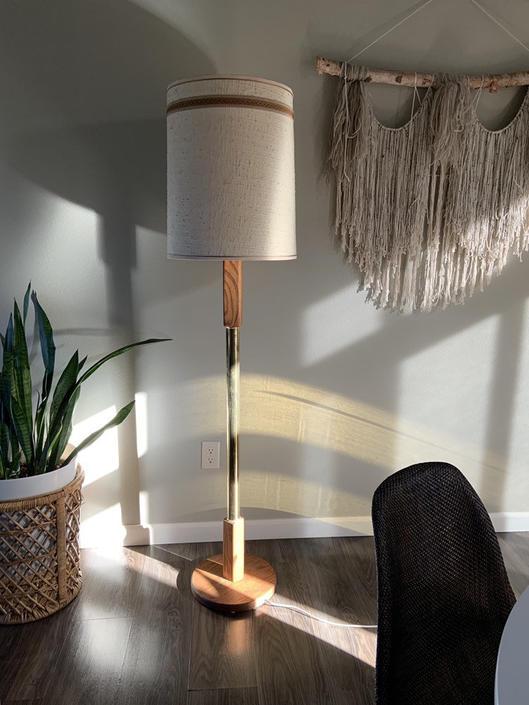 Vintage 1970s Wood and Brass Floor Lamp by DesertCactusVintage