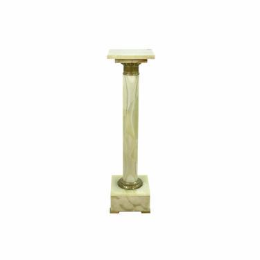 Antique Green Onyx Marble & Bronze Pedestal Sculpture Stand #2 by PrairielandArt
