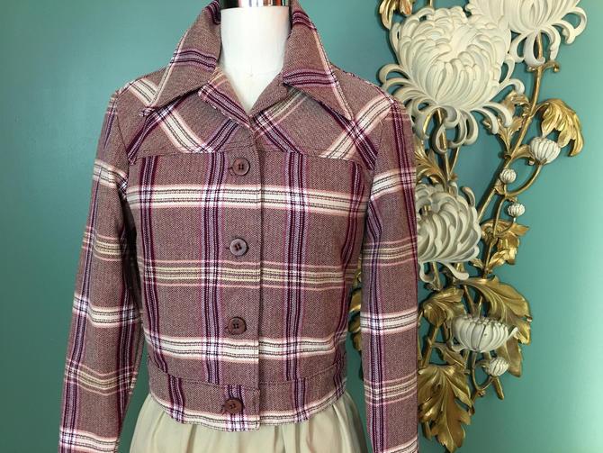 1970s cropped jacket, lady wrangler, vintage 70s jacket, plaid jacket, burgundy and cream, 1940s style, small, mod jacket, menswear style by BlackLabelVintageWA