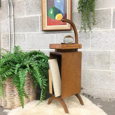 Vintage Telephone Stand Retro 1960s Mid Century Modern +  Danish + Scandinavian + Side Table + Walnut Wood + MCM + Storage + Home Decor by RetrospectVintage215
