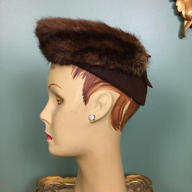 1940s fur hat, film noir style, vintage hat, brown felt, rockabilly style, WWii, old Hollywood, 1940s millinery, pointed, 22 inch by BlackLabelVintageWA