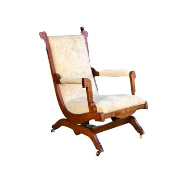 Free Shipping Within US - Antique Eastlake Platform Rocker Early American Chair on Casters Recently Reupholstered by BigWhaleConsignment