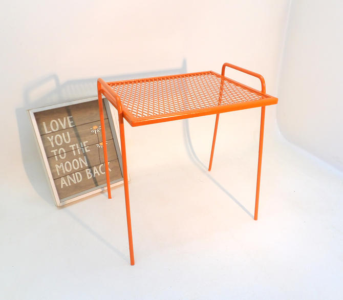 Fantastic Small Bench Or End Table Orange Wire Side Table Entryway Machost Co Dining Chair Design Ideas Machostcouk