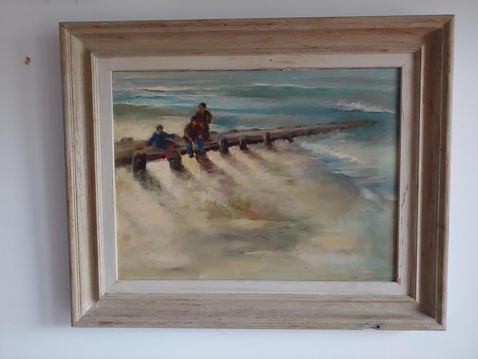 Original Oil Seascape Painting by Farris Woolston Titled Breakwater by ModandOzzie