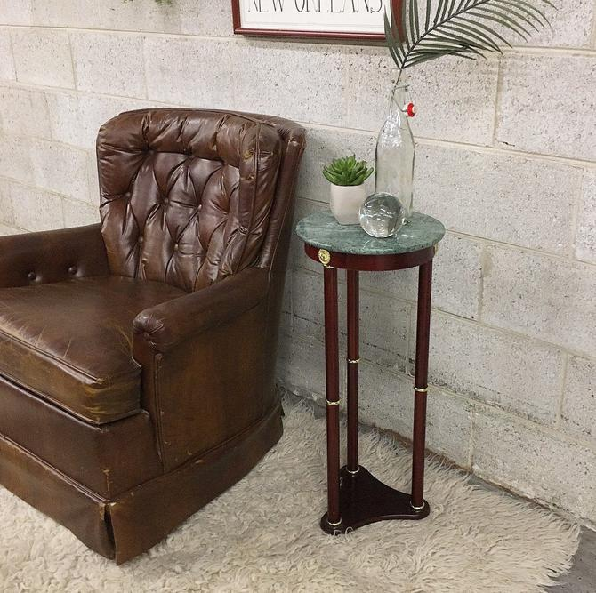 Vintage End Table Retro 1990s Tall Plant Stand + Green Faux Marble + Brown Wood + Column Style Legs + Gold Trim Details + Plant Table Stand by RetrospectVintage215